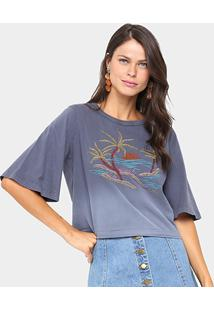 Camiseta Sommer Praia Bordada Feminina - Feminino-Cinza