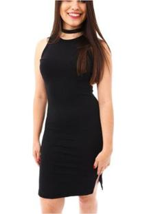Vestido Moda Vício Regata Decote Costas Feminino - Feminino-Preto