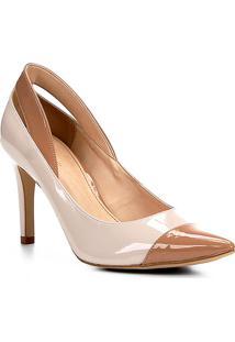 Scarpin Shoestock Salto Alto Detalhes Verniz - Feminino-Off White
