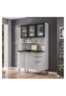 Cozinha Compacta Regina Ll 6 Pt 2 Gv Branca E Preta 120 Cm