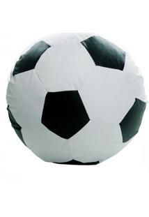 Puff Ball Futebol Infantil Corino Branco E Preto