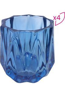 Jogo De Castiçais Em Relevo- Azul Escuro- 7,5Xø7,5Cmbtc Decor
