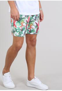 Short Masculino Estampado Tropical Com Bolsos Off White