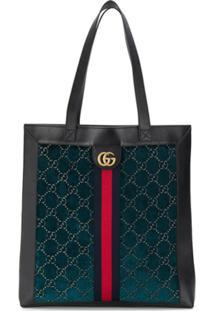 Gucci Bolsa Tote Com Estampa Monogramada - Azul