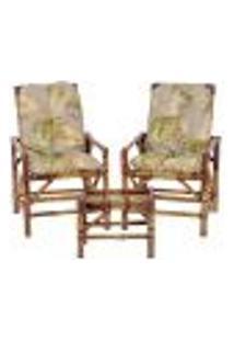 Conjunto Mesa E 2 Cadeiras De Bambu Cancun Para Área Edicula Jardim G05