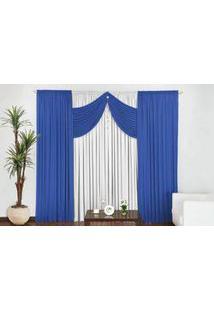 Cortina Império Tecido Malha Gel Para Quarto Ou Sala De 3,00 Largura X 2,50 Altura Azul Com Branco