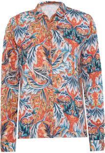 Camisa Manga Longa Colcci Floral Laranja