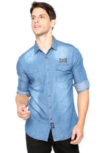 Camisa Jeans Broken Rules Patch Azul
