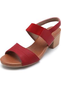 Sandália Couro Usaflex Matelassê Vermelha