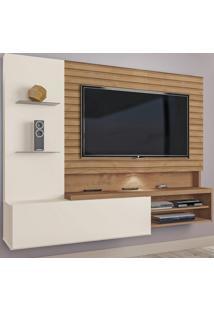 Painel Para Tv Até 55 Polegadas Lugano 1 Porta Flex Natura Off White/3D Canelato Rústico - Atualle Móveis