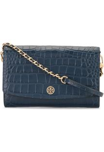 Tory Burch Robinson Embossed Wallet Clutch Bag - Azul