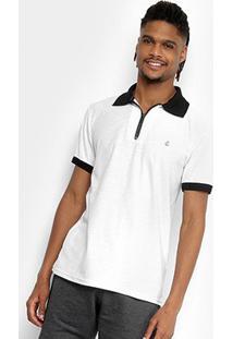Camisa Polo Tigs Molinê Gola Zíper Masculina - Masculino-Branco