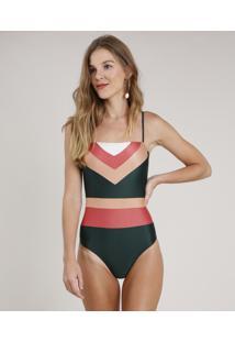 Maiô Body Color Block Sem Bojo Com Proteção Uv50+ Verde Escuro