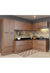 Cozinha Completa Com Tampo 16 Portas 12 Peças Calábria Multimóveis Nogueira/Malt