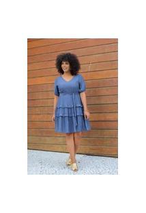 Vestido Curto Almaria Plus Size Uva Doce Faixa Azul