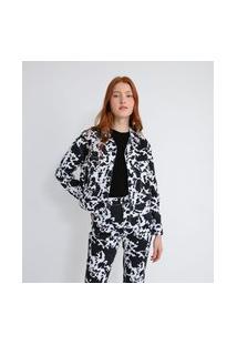 Jaqueta Em Sarja Com Bolsos E Estampa Animal Print Vaca | Blue Steel | Branco | P