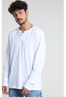 Camiseta Masculina Básica Manga Longa Gola Careca Branca