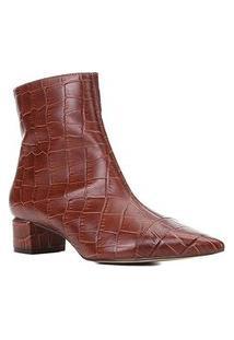 Bota Couro Shoestock Cano Curto Bico Fino Croco Feminina