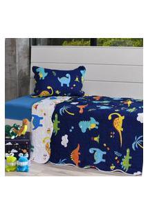 Kit Cobre Leito Casal + Porta Travesseiro Infantil Dinossauros - Bene Casa