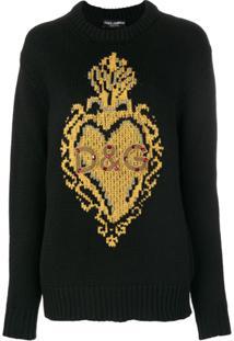 Dolce & Gabbana Blusa De Tricot Com Aplicações - Preto