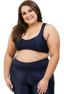 Top Corpusfit Fitness Oriental - Azul Marinho Plus Size
