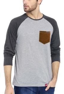 Camiseta Wevans Aplique Bolso Couro - Masculino
