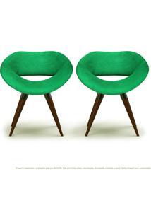 Kit 02 Poltronas Beijo Verde Cadeiras Decorativas Com Base Fixa De Madeira