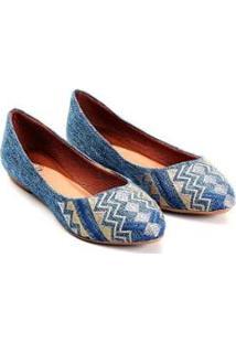 Sapatilha Linho Mizzi Shoes Bordado Feminina - Feminino-Azul Claro