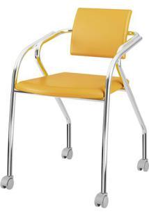 Cadeira 1713 Cromado Com Napa Amarelo - 27688 - Sun House