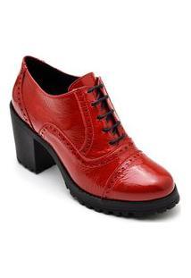 Bota Sapato Feminino Ankle Boot Em Couro Estilo Shoes Ca1900 Vermelho