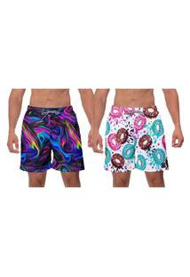 Kit 2 Shorts Moda Praia Masculina Rosquinhas Coloridas Psicodelic Roxo Estampado Academia Banho Surf W2