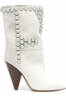 Isabel Marant Ankle Boot Layo Com Tachas - Branco