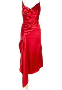 Sies Marjan Vestido Midi Farrah De Cetim - Vermelho