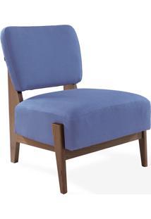 Poltrona Colorida De Madeira Estofada Estilo Retrô Moderno Sem Braços Azul Claro Samambaia - Verniz Capuccino \ Tec.930 - 67X66X82 Cm
