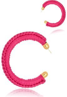 Argola Le Diamond Tecido Bordado Pink - Kanui