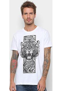 Camiseta Manga Curta Triton Estampada Tigre Masculina - Masculino-Branco