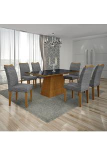 Conjunto Mesa Pampulha 1,80X0,90M 6 Cadeiras Vidro Preto Linho Cinza - 7340.39.39.23 Leifer