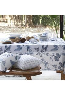 Toalha De Mesa Panamã¡ Tropical- Branca & Azul Marinho