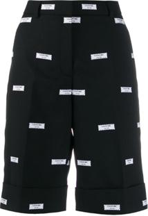Thom Browne Bermuda Com Patch Bordado - Preto