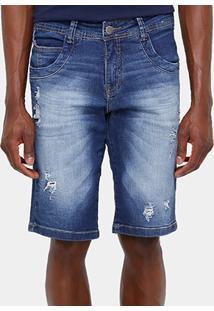 Bermuda Jeans Zune Stone Puídos Masculina - Masculino