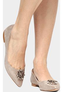 Sapatilha Couro Shoestock Pedraria Feminina - Feminino-Dourado