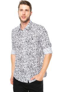 Camisa Reserva Regular Fit Estampada Branca/Cinza