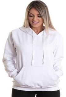 Blusa Maravs Moletom Frio Capuz Algodão Feminino - Feminino-Branco