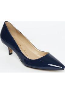 Scarpin Com Recorte- Azul Escuro- Salto: 6Cmluiza Barcelos