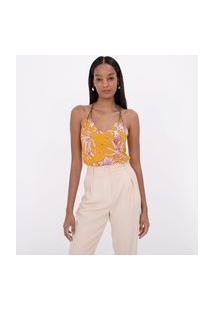 Blusa Sem Mangas Estampa Floral Com Cordão | Cortelle | Amarelo | G