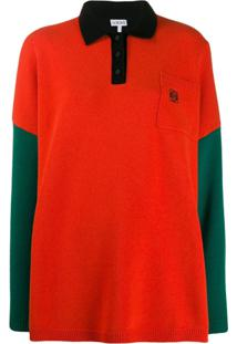 Loewe Knitted Colourblock Polo Shirt - Verde