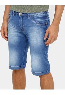 Bermuda Jeans Preston Estonada Masculina - Masculino