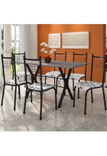Conjunto De Mesa Miami Com 6 Cadeiras Lisboa Ii Preto E Floral