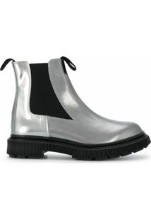 Adieu Paris Ankle Boot De Couro - Prateado