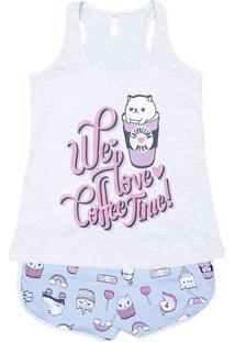 "Short Doll ""We Love Coffe Time"" - Cinza Claro & Azulmalwee"